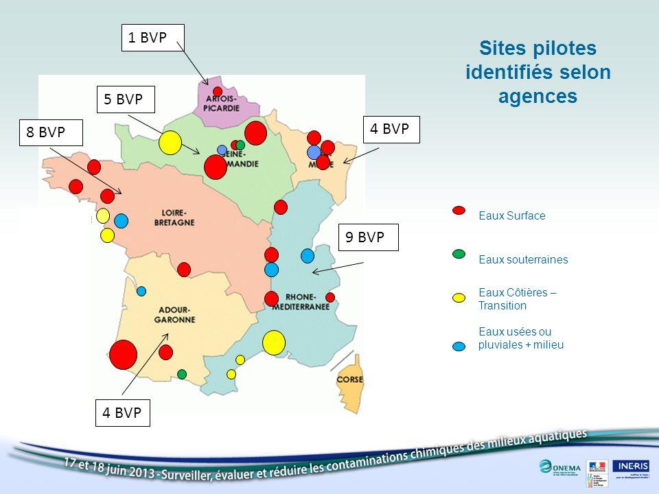 1 BVP 4 BVP 8 BVP 4 BVP 9 BVP 5 BVP Sites pilotes identifiés selon agences Eaux Surface Eaux souterraines Eaux Côtières – Transition Eaux usées ou pluviales + milieu