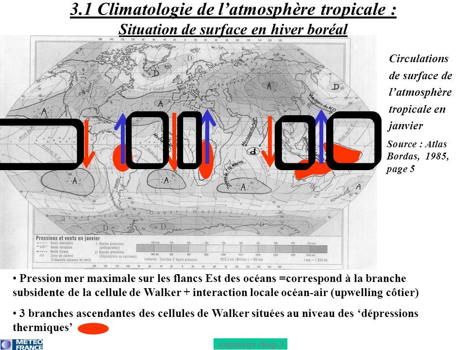 Pression mer maximale sur les flancs Est des océans =correspond à la branche subsidente de la cellule de Walker + interaction locale océan-air (upwell