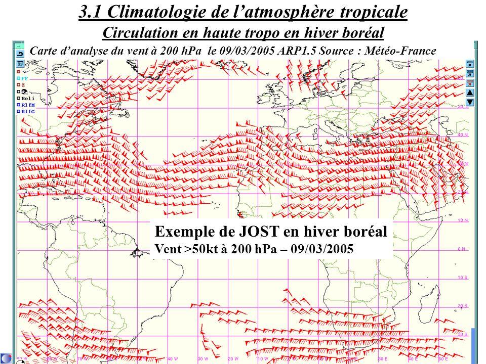 Exemple de JOST en hiver boréal Vent >50kt à 200 hPa – 09/03/2005 Carte danalyse du vent à 200 hPa le 09/03/2005 ARP1.5 Source : Météo-France 3.1 Clim