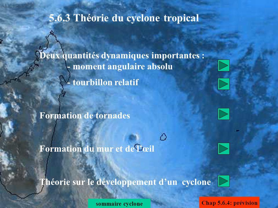 Deux quantités dynamiques importantes : - moment angulaire absolu - tourbillon relatif Formation de tornades Formation du mur et de lœil Théorie sur l