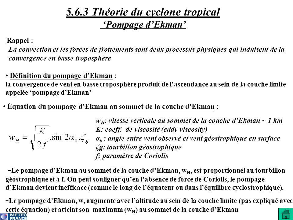 Rappel : La convection et les forces de frottements sont deux processus physiques qui induisent de la convergence en basse troposphère w H : vitesse v