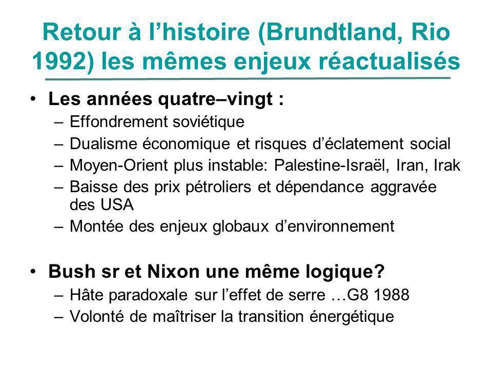 Retour à lhistoire (Brundtland, Rio 1992) les mêmes enjeux réactualisés Les années quatre–vingt : –Effondrement soviétique –Dualisme économique et ris