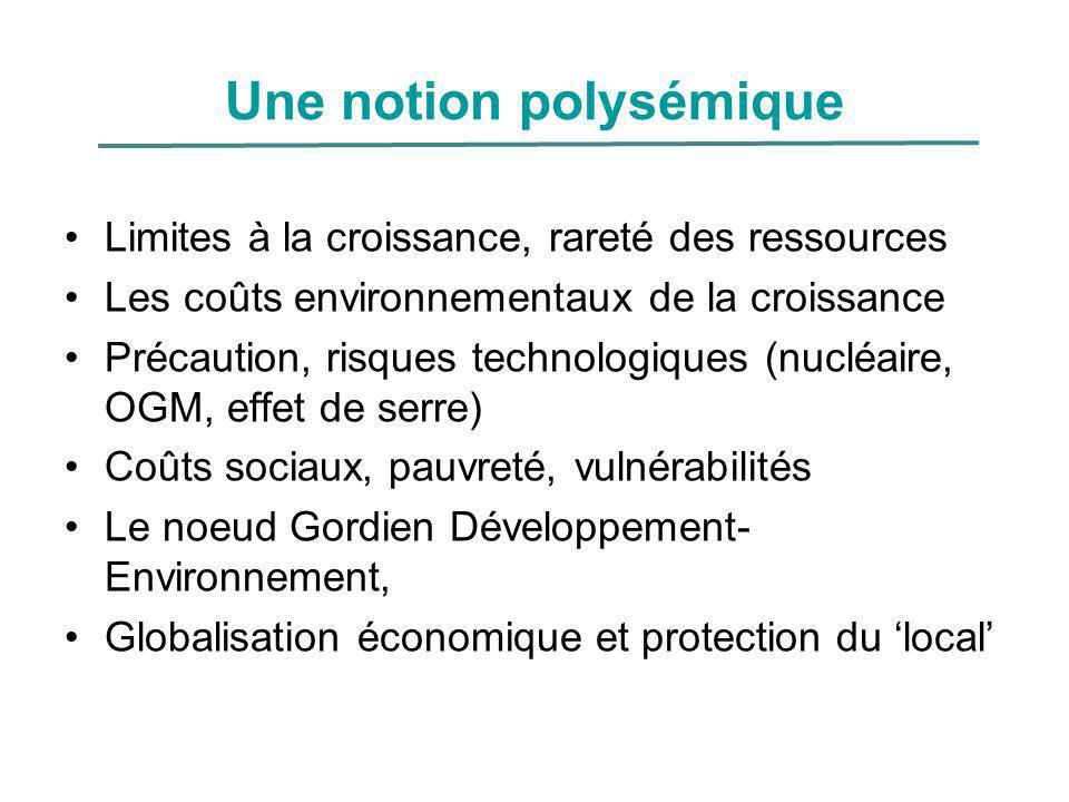 Une notion polysémique Limites à la croissance, rareté des ressources Les coûts environnementaux de la croissance Précaution, risques technologiques (