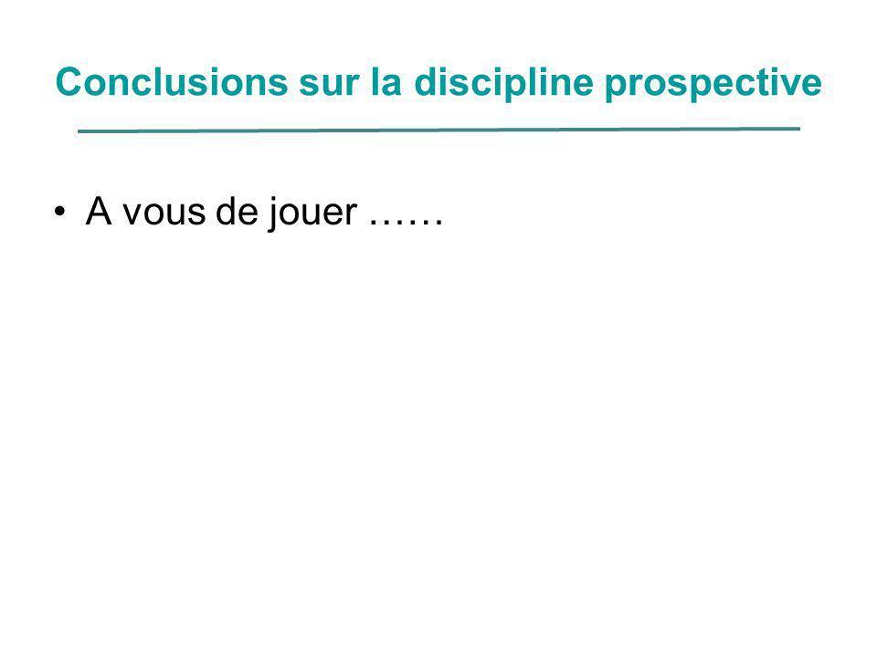 Conclusions sur la discipline prospective A vous de jouer ……