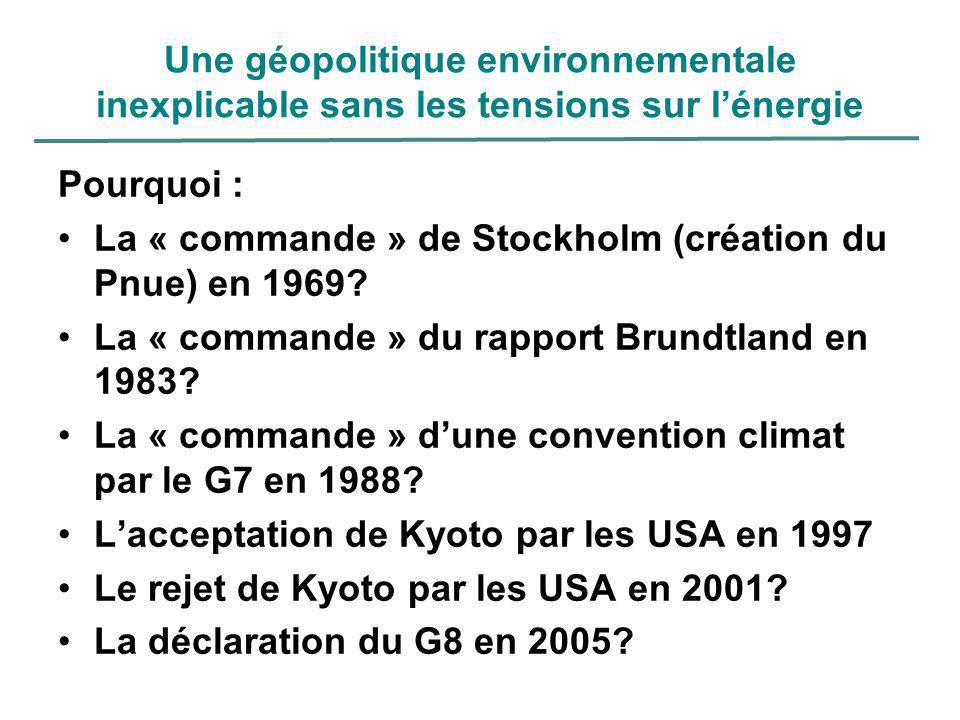Une géopolitique environnementale inexplicable sans les tensions sur lénergie Pourquoi : La « commande » de Stockholm (création du Pnue) en 1969? La «