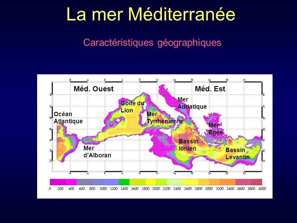 La mer Méditerranée Caractéristiques géographiques Mer Tyrrhénienne Golfe du Lion Mer dAlboran Méd.