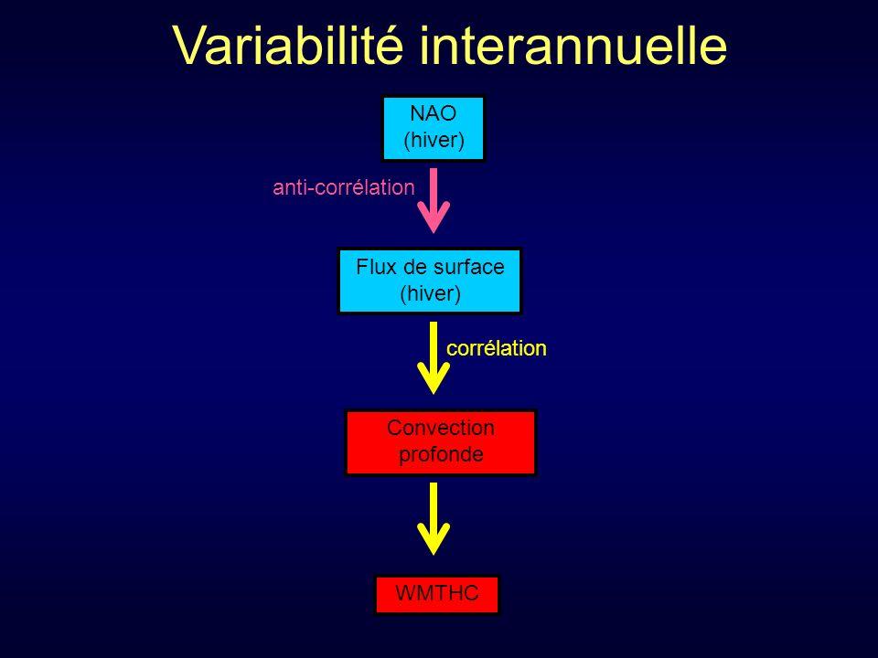 Convection profonde WMTHC Flux de surface (hiver) corrélation Variabilité interannuelle NAO (hiver) anti-corrélation