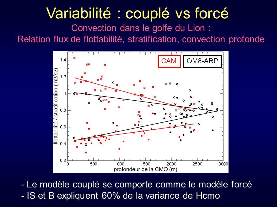 Variabilité : couplé vs forcé Convection dans le golfe du Lion : Relation flux de flottabilité, stratification, convection profonde OM8-ARPCAM - Le modèle couplé se comporte comme le modèle forcé - IS et B expliquent 60% de la variance de Hcmo