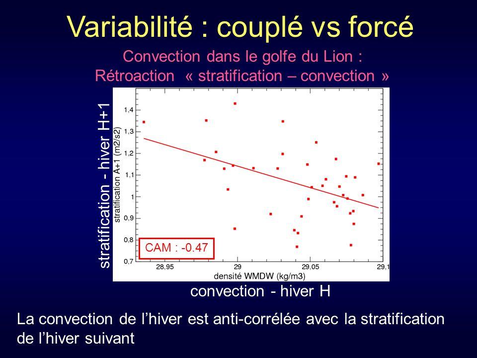 Convection dans le golfe du Lion : Rétroaction « stratification – convection » convection - hiver H CAM : -0.47 stratification - hiver H+1 La convection de lhiver est anti-corrélée avec la stratification de lhiver suivant Variabilité : couplé vs forcé