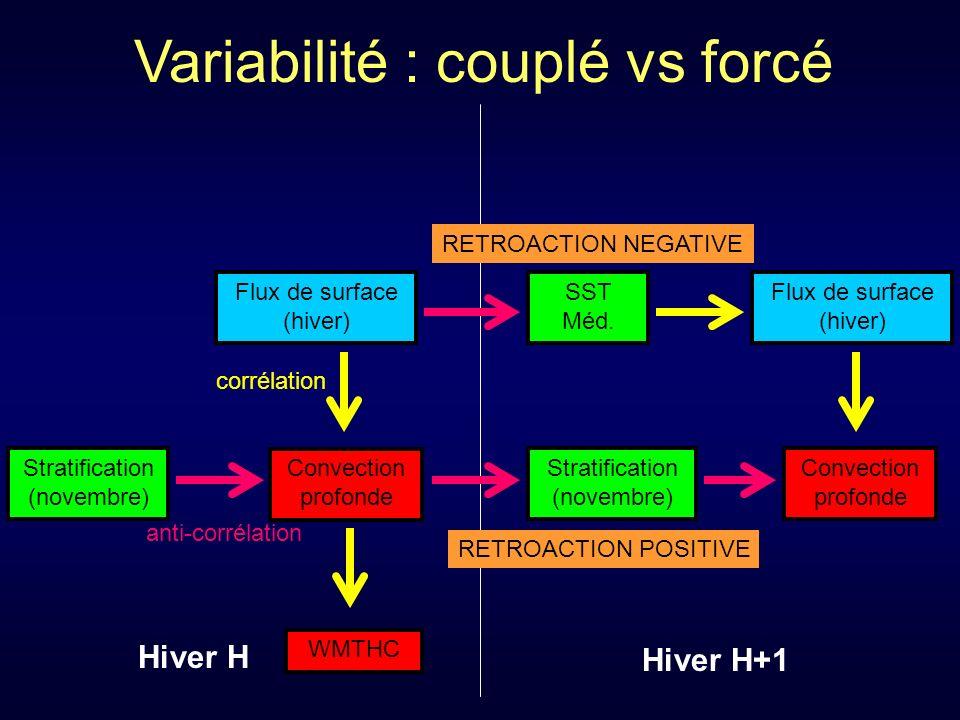 Convection profonde WMTHC Flux de surface (hiver) corrélation Stratification (novembre) anti-corrélation Hiver H+1 Hiver H Stratification (novembre) RETROACTION POSITIVE Convection profonde RETROACTION NEGATIVE Flux de surface (hiver) SST Méd.