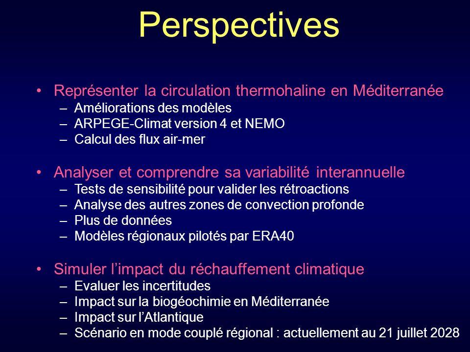 Perspectives Représenter la circulation thermohaline en Méditerranée Analyser et comprendre sa variabilité interannuelle Simuler limpact du réchauffement climatique –Améliorations des modèles –ARPEGE-Climat version 4 et NEMO –Calcul des flux air-mer –Tests de sensibilité pour valider les rétroactions –Analyse des autres zones de convection profonde –Plus de données –Modèles régionaux pilotés par ERA40 –Evaluer les incertitudes –Impact sur la biogéochimie en Méditerranée –Impact sur lAtlantique –Scénario en mode couplé régional : actuellement au 21 juillet 2028