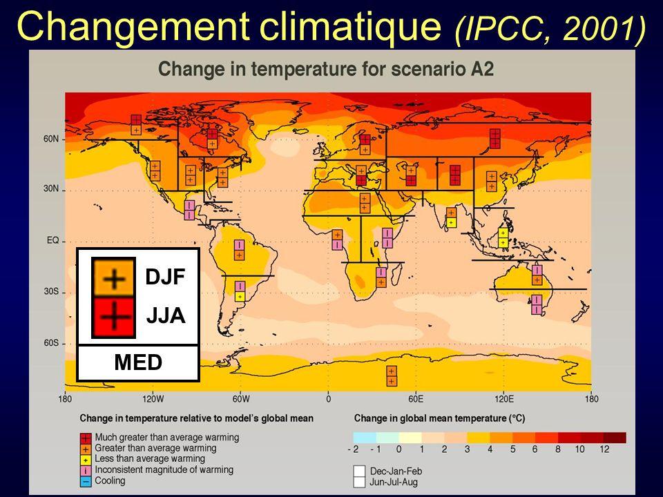 Changement climatique (IPCC, 2001) IPCC, 2001 MED DJF JJA