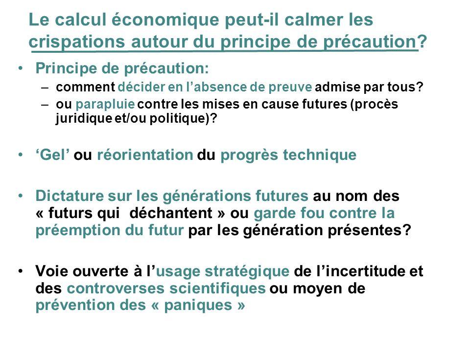 Le calcul économique peut-il calmer les crispations autour du principe de précaution? Principe de précaution: –comment décider en labsence de preuve a