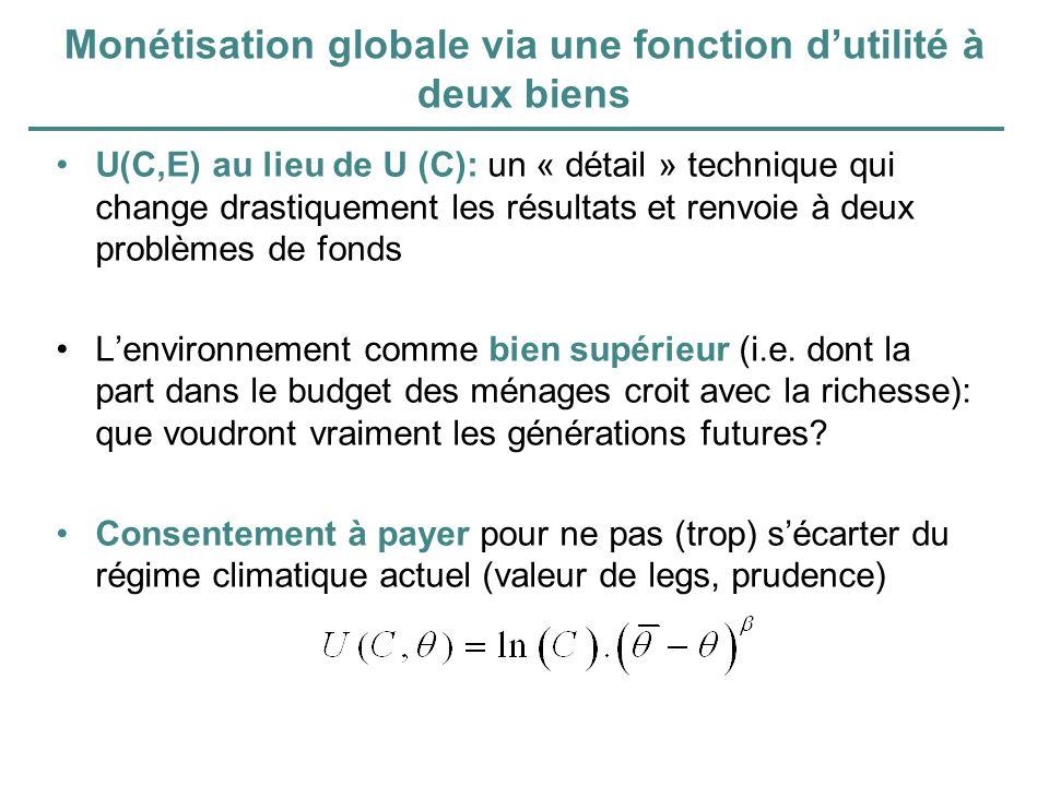 Monétisation globale via une fonction dutilité à deux biens U(C,E) au lieu de U (C): un « détail » technique qui change drastiquement les résultats et