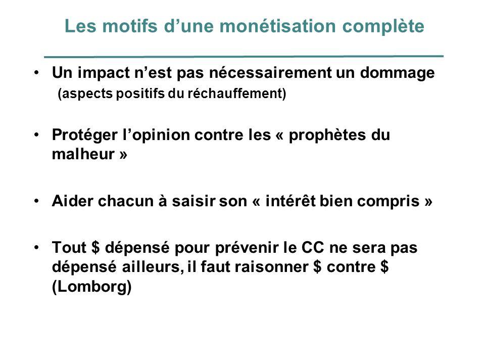 Les motifs dune monétisation complète Un impact nest pas nécessairement un dommage (aspects positifs du réchauffement) Protéger lopinion contre les «
