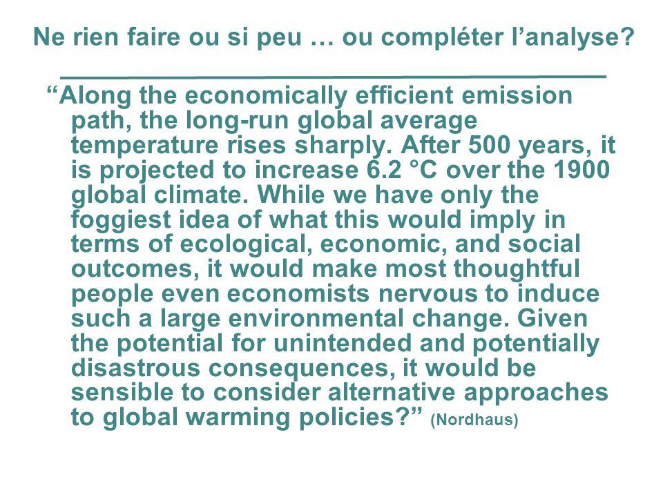 Ne rien faire ou si peu … ou compléter lanalyse? Along the economically efficient emission path, the long-run global average temperature rises sharply