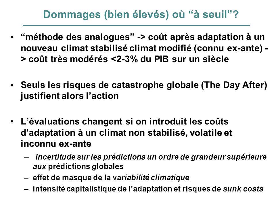 Dommages (bien élevés) où à seuil? méthode des analogues -> coût après adaptation à un nouveau climat stabilisé climat modifié (connu ex-ante) - > coû