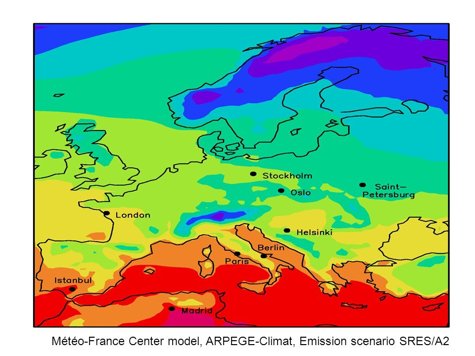 Météo-France Center model, ARPEGE-Climat, Emission scenario SRES/A2