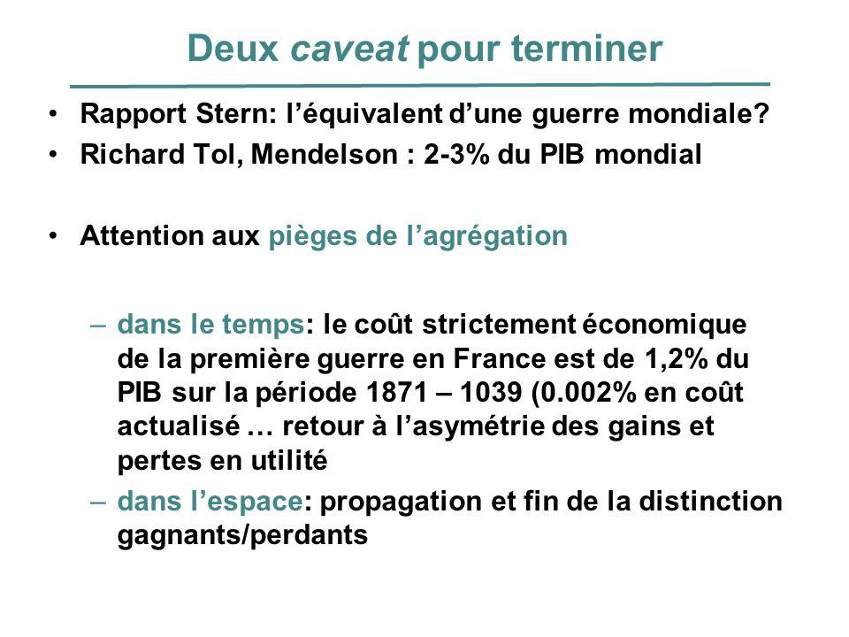 Deux caveat pour terminer Rapport Stern: léquivalent dune guerre mondiale? Richard Tol, Mendelson : 2-3% du PIB mondial Attention aux pièges de lagrég