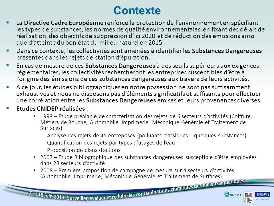 Contexte La Directive Cadre Européenne renforce la protection de lenvironnement en spécifiant les types de substances, les normes de qualité environne