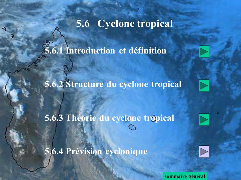 5.6.1 Introduction et définition 5.6.2 Structure du cyclone tropical 5.6.3 Théorie du cyclone tropical 5.6.4 Prévision cyclonique sommaire général 5.6 Cyclone tropical