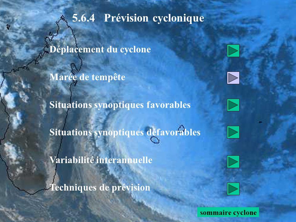 Déplacement du cyclone Marée de tempête Situations synoptiques favorables Situations synoptiques défavorables Variabilité interannuelle Techniques de prévision sommaire cyclone 5.6.4 Prévision cyclonique