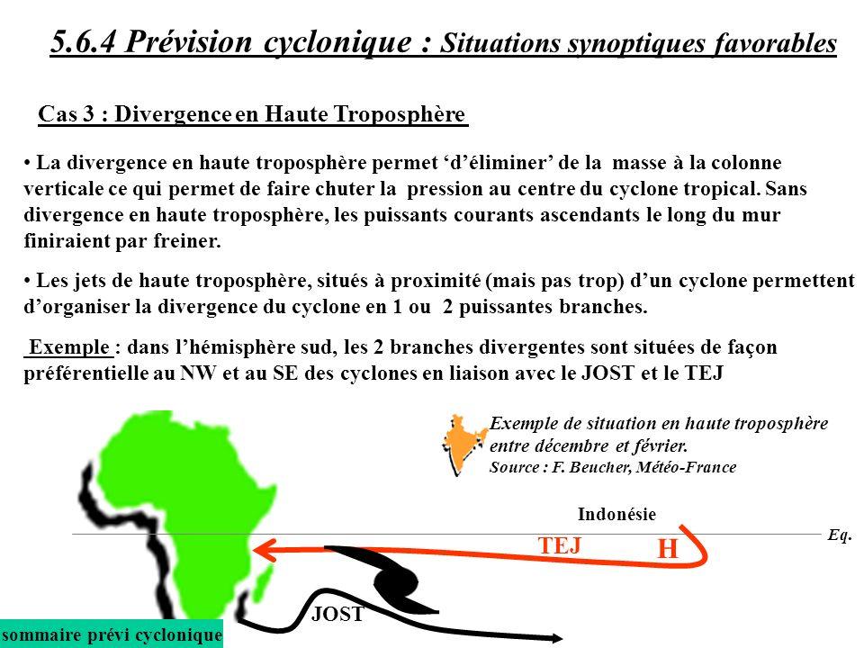 La divergence en haute troposphère permet déliminer de la masse à la colonne verticale ce qui permet de faire chuter la pression au centre du cyclone tropical.