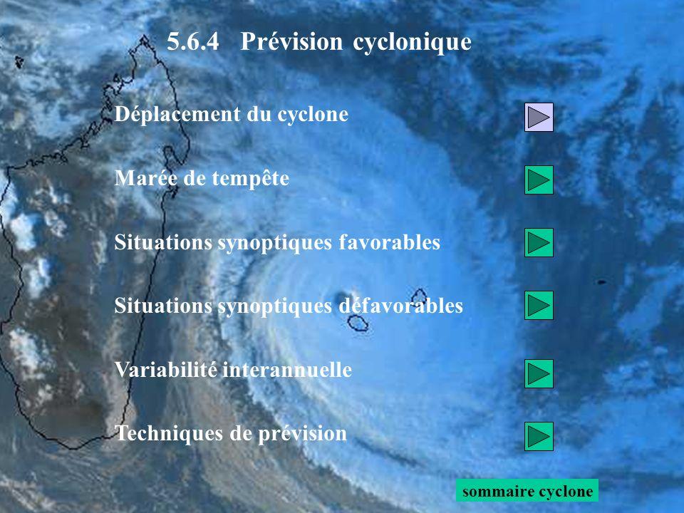 Léquation du tourbillon pour une atmosphère barotrope, hors couche limite, sécrit : évolution eulérienne de f égale à 0 = 0 (1) (2) (1) + (2) (3) Lévolution eulérienne de ζ r donne le déplacement du cyclone Développons le membre de gauche : sommaire prévi cyclonique 5.6.4 Prévision cyclonique : déplacement du cyclone