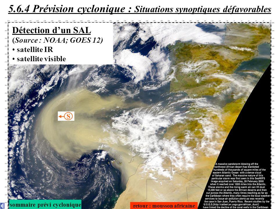 retour : mousson africaine sommaire prévi cyclonique Détection dun SAL (Source : NOAA; GOES 12) satellite IR satellite visible 5.6.4 Prévision cyclonique : Situations synoptiques défavorables