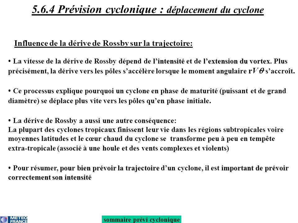 Influence de lenvironnement synoptique sur la trajectoire : Quand un cyclone approche un thalweg, il est très difficile de prévoir le point dinflexion de la trajectoire (= lieu de recourbement) Effet Fujiwhara : lorsque 2 cyclones évoluent à proximité (< 1500 km), ils sattirent mutuellement en tournant lun autour de lautre sommaire prévi cyclonique 5.6.4 Prévision cyclonique : déplacement du cyclone