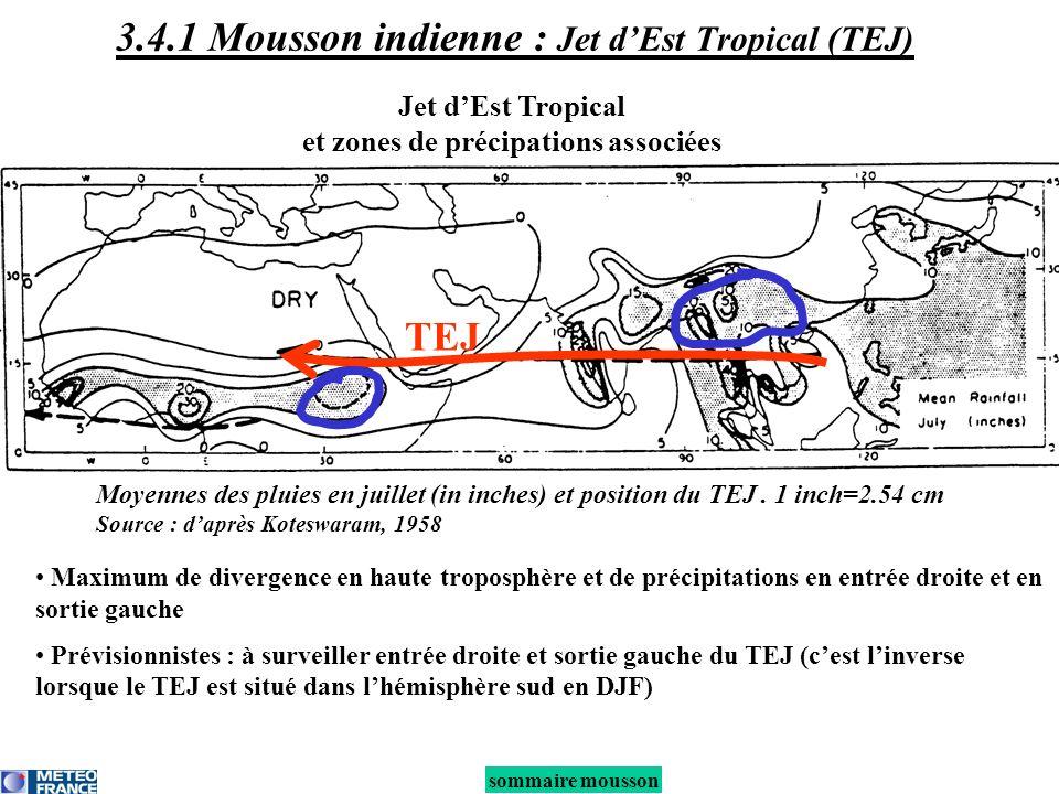 Jet dEst Tropical et zones de précipations associées Maximum de divergence en haute troposphère et de précipitations en entrée droite et en sortie gau
