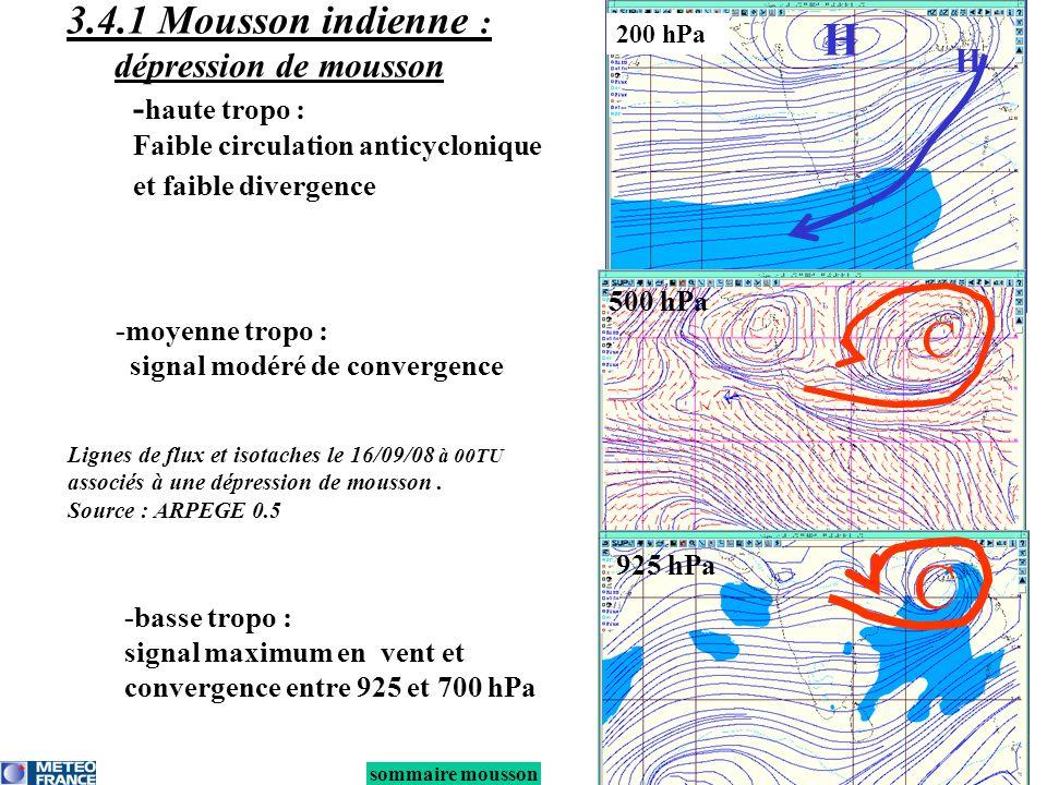 sommaire mousson 3.4.1 Mousson indienne : dépression de mousson -moyenne tropo : signal modéré de convergence -basse tropo : signal maximum en vent et