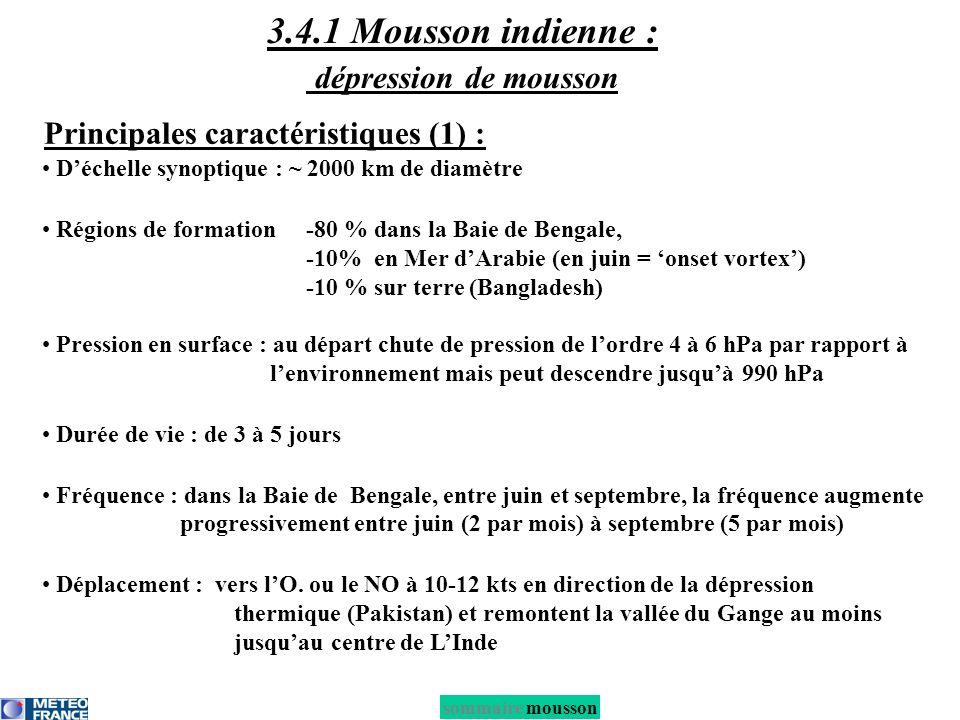 sommaire mousson 3.4.1 Mousson indienne : dépression de mousson Déchelle synoptique : ~ 2000 km de diamètre Régions de formation -80 % dans la Baie de