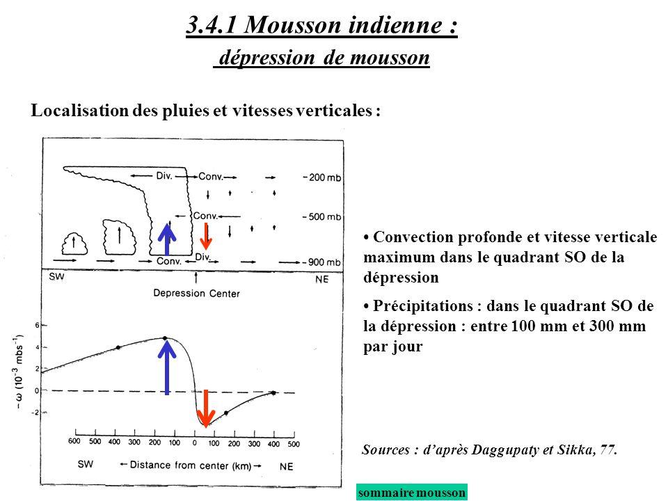 sommaire mousson Convection profonde et vitesse verticale maximum dans le quadrant SO de la dépression Précipitations : dans le quadrant SO de la dépr