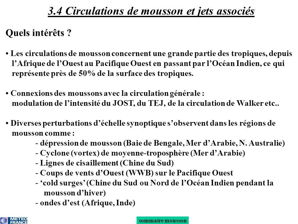 3.4 Circulations de mousson et jets associés Quels intérêts ? Les circulations de mousson concernent une grande partie des tropiques, depuis lAfrique