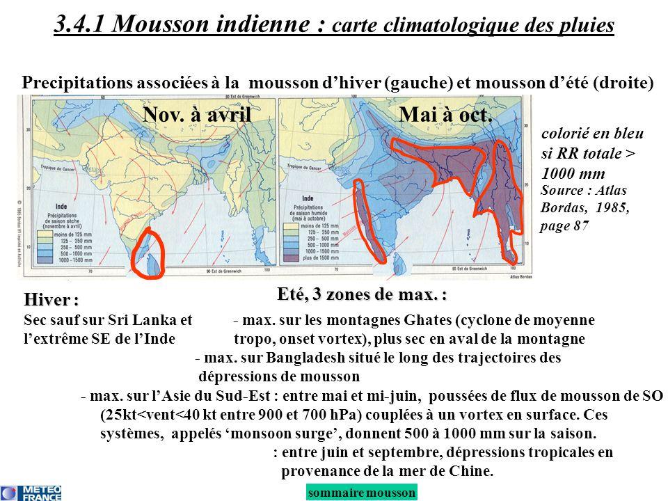 sommaire mousson 3.4.1 Mousson indienne : carte climatologique des pluies Precipitations associées à la mousson dhiver (gauche) et mousson dété (droit