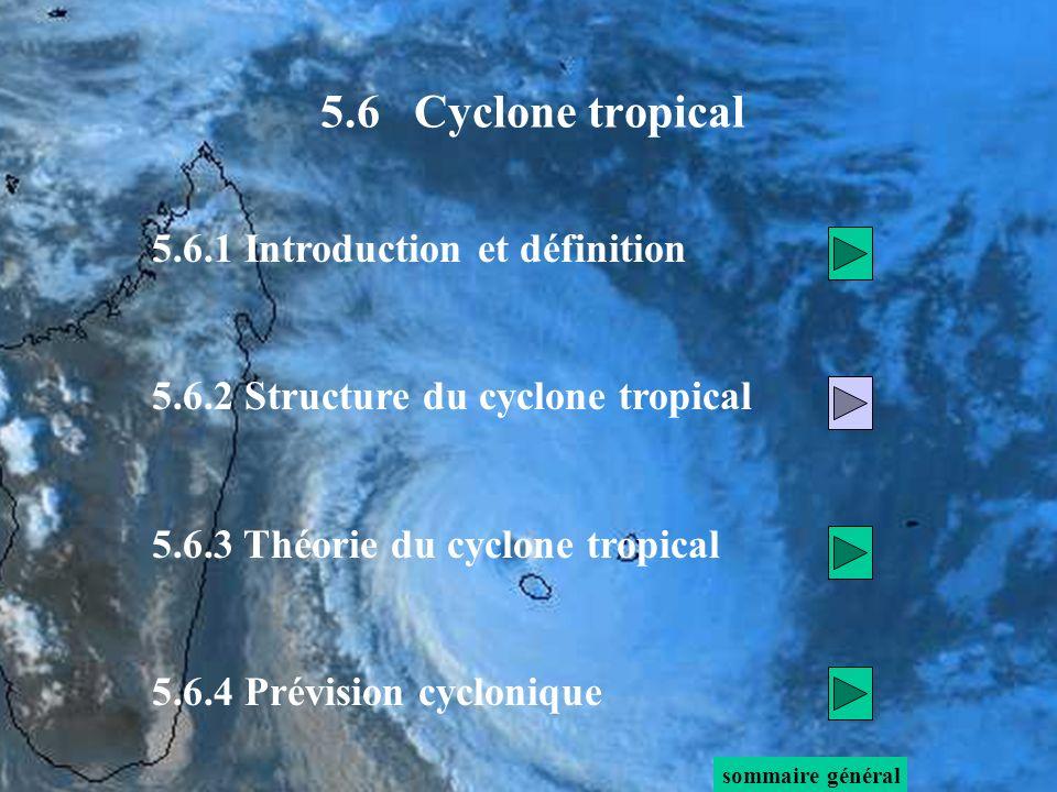 5.6.1 Introduction et définition 5.6.2 Structure du cyclone tropical 5.6.3 Théorie du cyclone tropical 5.6.4 Prévision cyclonique sommaire général 5.6