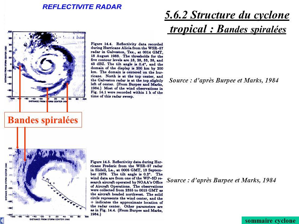 Bandes spiralées sommaire cyclone 5.6.2 Structure du cyclone tropical : B andes spiralées en haut ) du cyclone Alicia (18/08/83) en bas) du cyclone Fr
