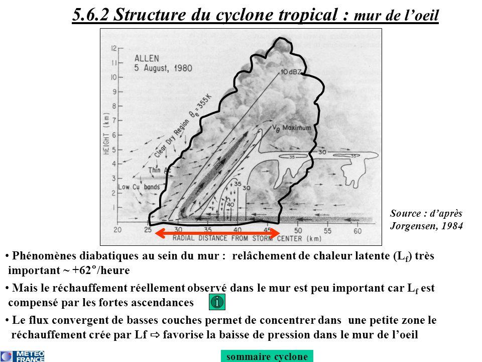 Taille horizontale du mur de loeil ~ 10 à 40 km Le mur de lœil est incliné vers lextérieur avec laltitude : -la zone de vent les + forts est située en basse tropo et sincline vers lextérieur avec laltitude -la zone dascendances maximale (-7 à –9 m/s) sincline vers lextérieur avec laltitude -les précipitations tombent à lextérieur du cône penché 5.6.2 Structure du cyclone tropical : mur de loeil sommaire cyclone Source : daprès Jorgensen, 1984