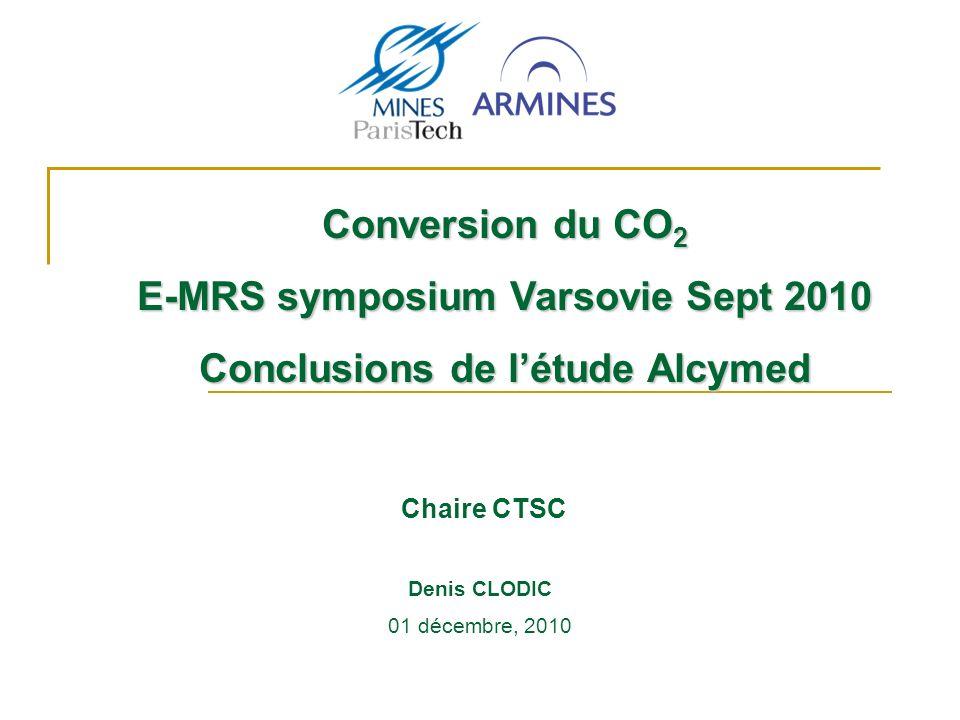 Chaire CTSC Conversion du CO 2 E-MRS symposium Varsovie Sept 2010 Conclusions de létude Alcymed 01 décembre, 2010 Denis CLODIC