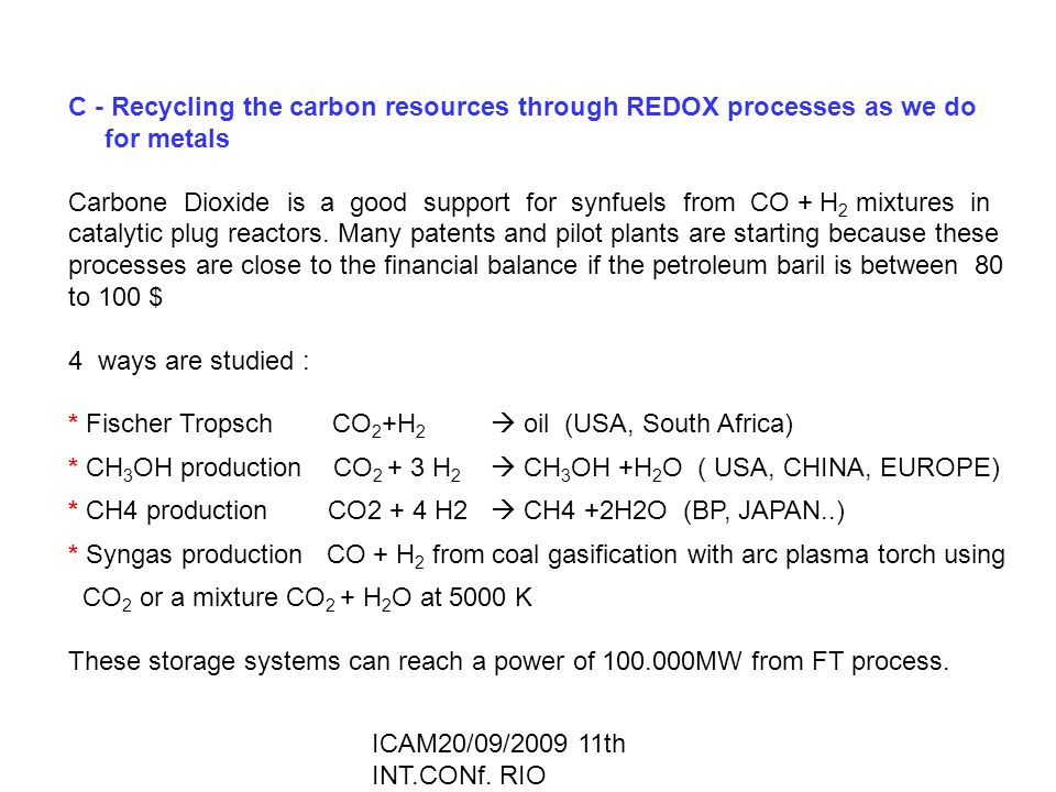 ICAM20/09/2009 11th INT.CONf. RIO C - Recycling the carbon resources through REDOX processes as we do for metals Carbone Dioxide is a good support for
