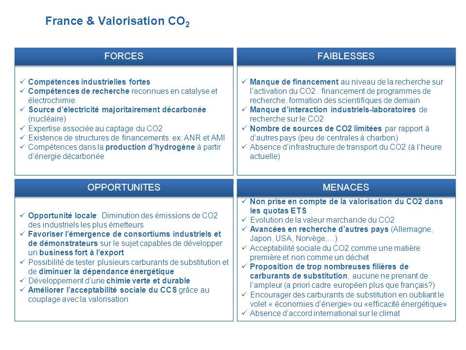 France & Valorisation CO 2 FORCES Compétences industrielles fortes Compétences de recherche reconnues en catalyse et électrochimie Source délectricité