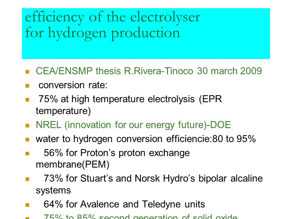 efficiency of the electrolyser for hydrogen production CEA/ENSMP thesis R.Rivera-Tinoco 30 march 2009 conversion rate: 75% at high temperature electro