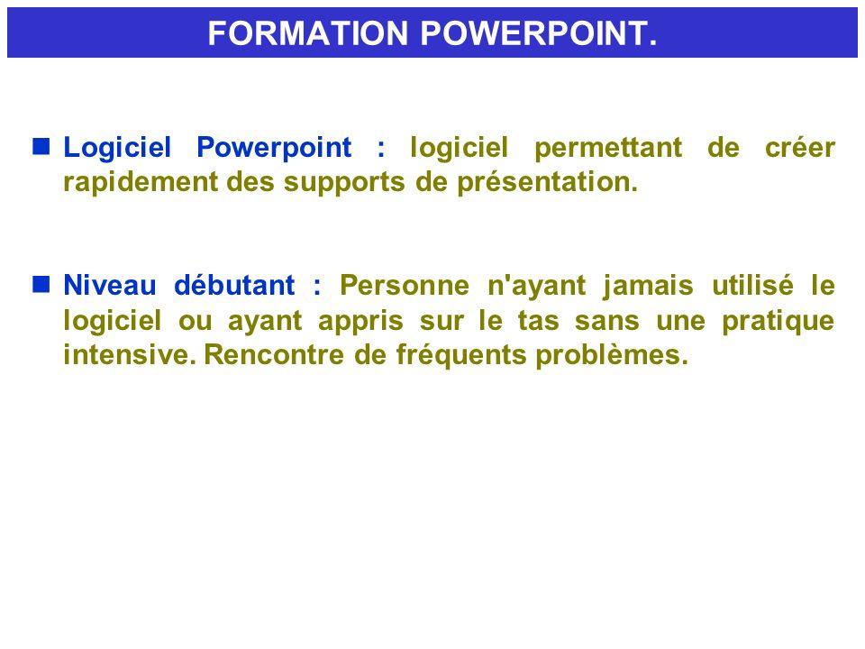 FORMATION POWERPOINT. nLogiciel Powerpoint : logiciel permettant de créer rapidement des supports de présentation. nNiveau débutant : Personne n'ayant