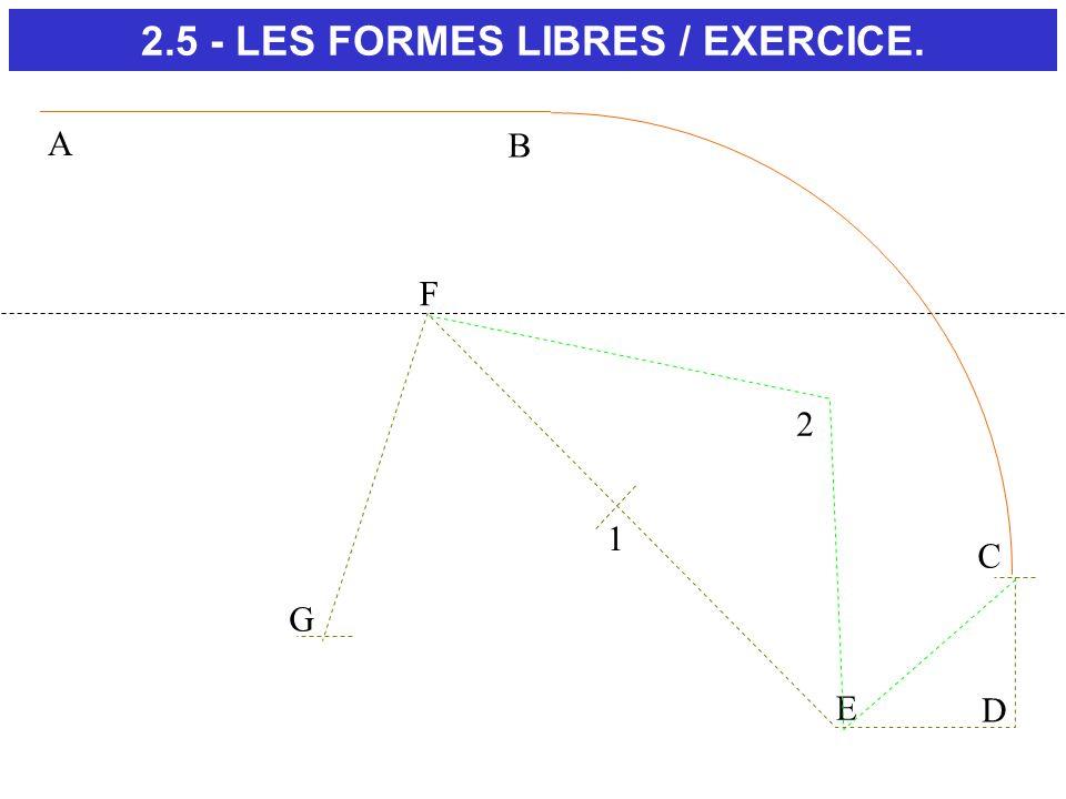 C D E F G 1 2 A B 2.5 - LES FORMES LIBRES / EXERCICE.