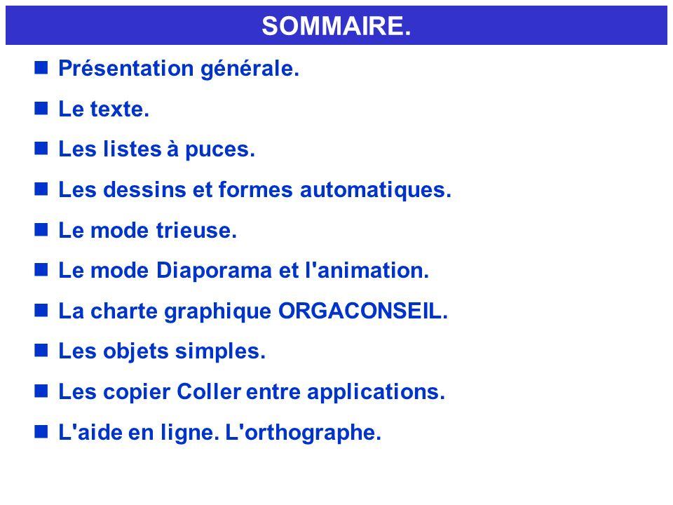 SOMMAIRE. nPrésentation générale. nLe texte. nLes listes à puces. nLes dessins et formes automatiques. nLe mode trieuse. nLe mode Diaporama et l'anima