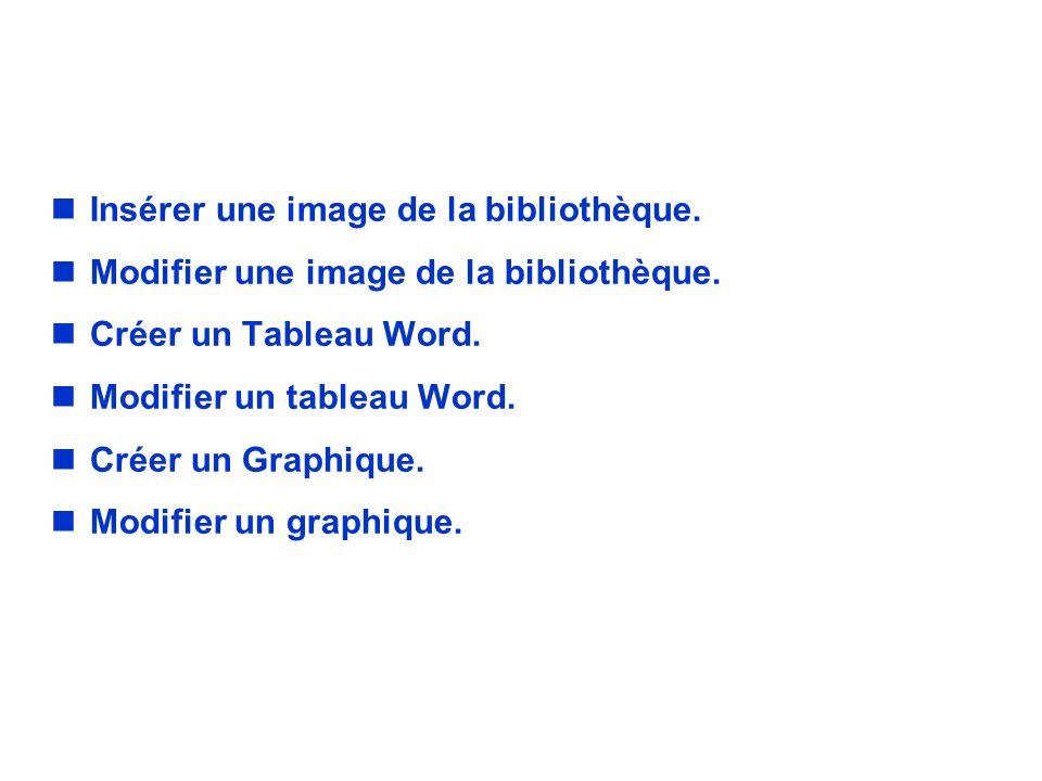 LES OBJETS SIMPLES nInsérer une image de la bibliothèque. nModifier une image de la bibliothèque. nCréer un Tableau Word. nModifier un tableau Word. n