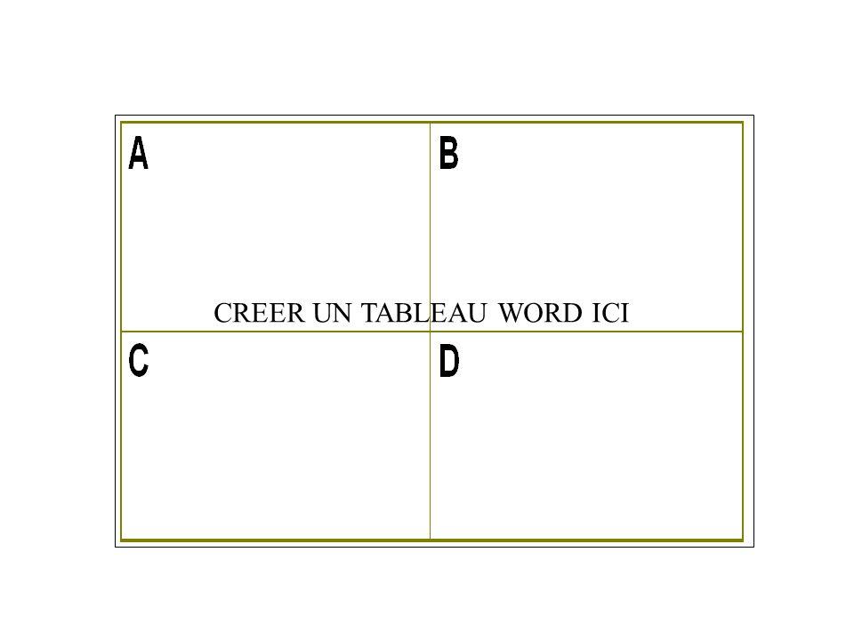 1.2 - TABLEAU WORD / CORRIGE. CREER UN TABLEAU WORD ICI