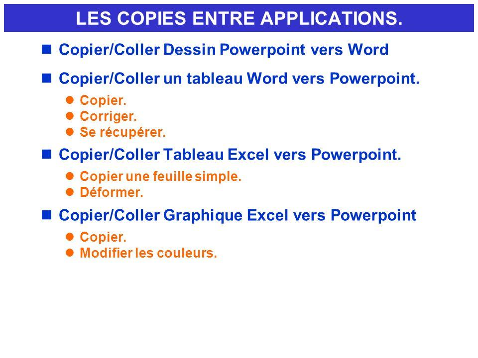 nCopier/Coller Dessin Powerpoint vers Word nCopier/Coller un tableau Word vers Powerpoint. lCopier. lCorriger. lSe récupérer. nCopier/Coller Tableau E