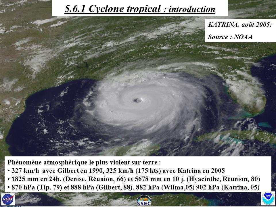 Phénomène atmosphérique le plus violent sur terre : 327 km/h avec Gilbert en 1990, 325 km/h (175 kts) avec Katrina en 2005 1825 mm en 24h. (Denise, Ré